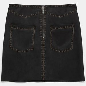 ZARA FAUX SUEDE MINI SKIRT WITH TOP STITCHING